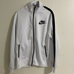 Nike White/Black Full Zip Long Sleeve Windbreaker